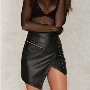 Black faux Leather Mini Skirt Assymetrical